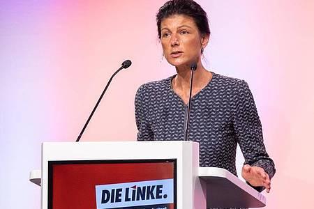 Sahra Wagenknecht steht wohl erneut an der Spitze der NRW-Landesliste der Linkspartei zur Bundestagswahl. Foto: Marcel Kusch/dpa