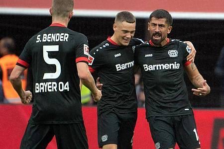 Bayer Leverkusen trifft in der Europa League auf Slavia Prag, Hapoel Beerscheva und OGCNizza. Foto: Federico Gambarini/dpa