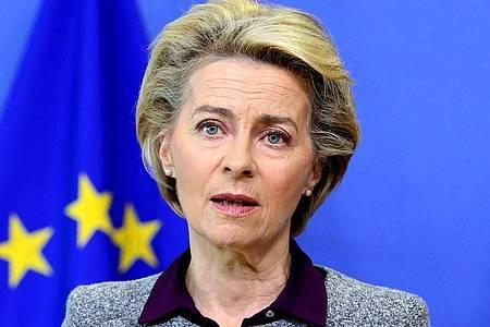 Ursula von der Leyen, Präsidentin der Europäischen Kommission, spricht im August auf einer Pressekonferenz im EU-Hauptquartier. Foto: Francois Walschaerts/AFP POOL/AP/dpa