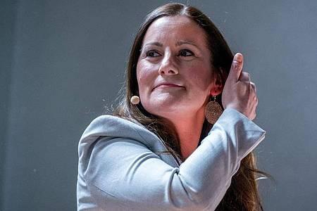 Janine Wissler, Spitzenkandidaten ihrer Partei für die Bundestagswahl. Foto: Kay Nietfeld/dpa