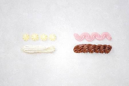 Buttercreme viermal anders: Vanillecreme, Himbeercreme, Nusscreme, Schokoladencreme. Foto: Barbara Bonisolli/Gra?fe und Unzer Verlag/dpa-tmn