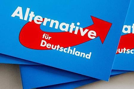 Das Logo der AfD auf Parteibroschüren. Foto: Markus Scholz/dpa
