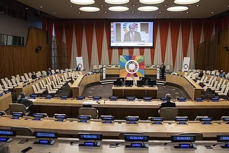 Zum Auftakt des Festaktes in New York beschwor UN-Generalsekretär António Guterres die internationale Zusammenarbeit. Foto: Eskinder Debebe/UN/XinHua/dpa