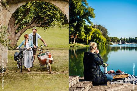 geteiltes Fotomotiv Frau und Mann schieben ein Fahrrad und Frau sitzt am See