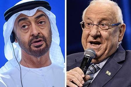 Scheich Mohammed bin Said Al Nahjan (L) und Reuven Rivlin, Präsident von Israel. Foto: Gregor Fischer/Ilia Yefimovich/dpa