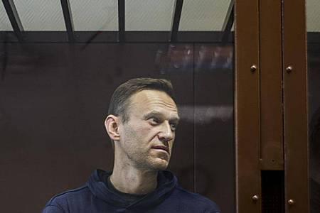 Alexej Nawalny während einer Anhörung im Bezirksgericht Babuskinsky Anfang Februar. Foto: Uncredited/Babuskinsky District Court/AP/dpa