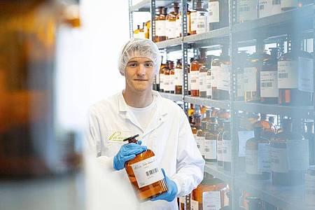 Paul Boos ist angehender Pharmakant. Mit den Rohstoffen zur Herstellung von Arzneimitteln muss er sich bestens auskennen. Foto: Pascoe Naturmedizin/dpa-tmn