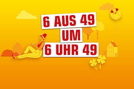 Aktionsmotiv mit gelben Hintergrund und der Headline 6aus49 um 6 Uhr 49 in weißen Balken und roter Schrift