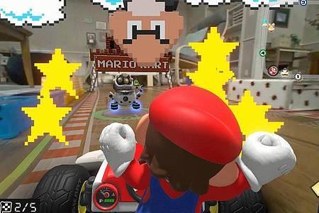 Die vielen Animationen auf dem Bildschirm können die Piloten bei «Mario Kart Live: Home Circuit» auch ablenken. Foto: Nintendo/dpa-tmn