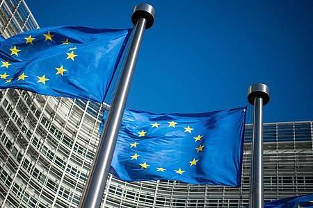 Flaggen der Europäischen Union wehen im Wind vor dem Berlaymont-Gebäude, dem Sitz der Europäischen Kommission. (Archivbild). Foto: Arne Immanuel Bänsch/dpa