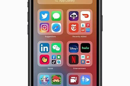 Übersichtlich:Die neue App-Bibliothek in iOS 14. Foto: Apple/dpa-tmn
