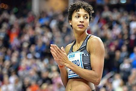 Malaika Mihambo gehört zu den prominentesten Teilnehmer der 120. deutschen Leichtathletik-Meisterschaften. Foto: Soeren Stache/dpa-Zentralbild/dpa