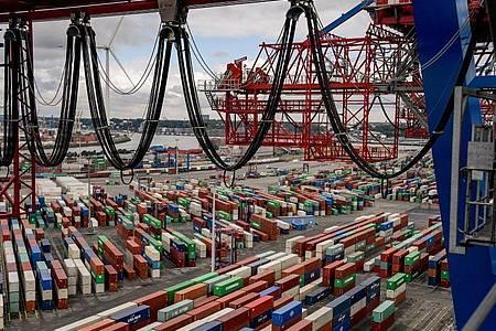 Container liegen zur Abfertigung am Containerterminal im Hamburger Hafen. Die Wirtschaft wird nach der Prognose der EU-Kommission noch stärker einbrechen, als bislang angenommen. Foto: Axel Heimken/dpa