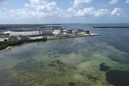 Floridas Governeur DeSantis hat den Notstand ausgerufen: Südlich von Tampa droht das Abwasserbecken einer früheren Düngemittelfabrik zu bersten. Foto: Tiffany Tompkins/The Bradenton Herald/AP/dpa