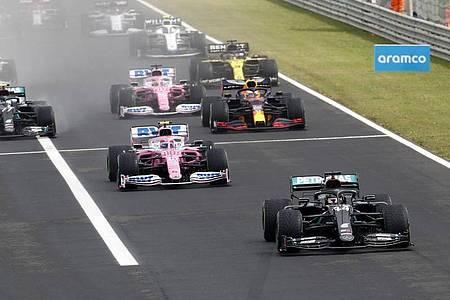 Lewis Hamilton (vorne) konnte den Großen Preis von Ungarn zum achten Mal gewinnen. Foto: Darko Bandic/AP Pool/AP/dpa