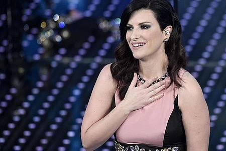 Laura Pausini, italienische Sängerin, beim 66. Sanremo Festival. Foto: Claudio Onorati/ANSA/dpa