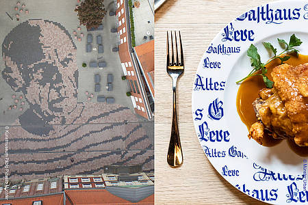 Picasso aus Pflastersteinen in Münster und Teller mit Essen