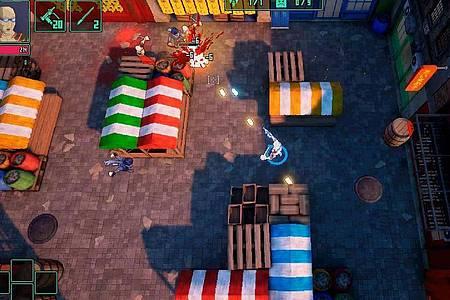 «HyperParasite» erinnert an farbenfrohe Arcade-Titel der 90er Jahre. Foto: Hound Picked Games/dpa-tmn