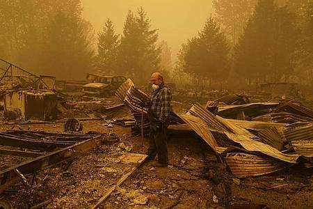EinMann begutachtet die Überreste eines Hauses im US-Bundesstaat Oregon, das durch die heftigen Waldbrände zerstört wurden. Foto: John Locher/AP/dpa