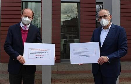 Landrat Dr. Olaf Gericke und Peter Scholz, Vorstand Sparkasse Münsterland Ost
