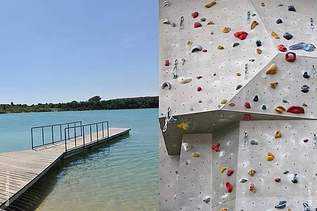 Steg am See und Kletterwand