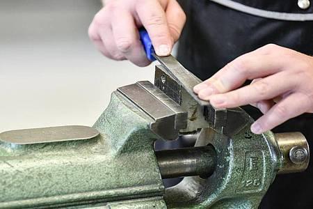 Feilen, Biegen, Schleifen: Am Schraubstock erlernen angehende Fachkräfte für Metalltechnik die Grundlagen ihres Berufs. Foto: Kirsten Neumann/dpa-tmn
