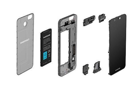 Unkomplizierter geht fast nicht: Das Fairphone 3+ ist aus wenigen wechselbaren Modulen aufgebaut. Foto: Fairphone/dpa-tmn