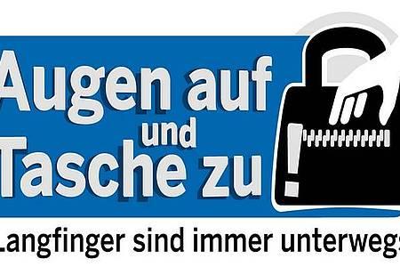 Logo Taschendiebstahl: Augen auf und Tasche zu. Langfinger sind immer unterwegs.