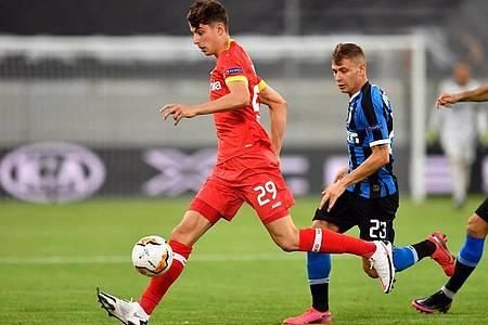 Für Leverkusen erzielte Kai Havertz (l) den Anschlusstreffer. Foto: Marius Becker/dpa