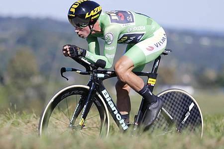 Der Slowene Primoz Roglic steht kurz vor der Wiederholung seines Vuelta-Vorjahreserfolges. Foto: Yuzuru Sunada/BELGA/dpa