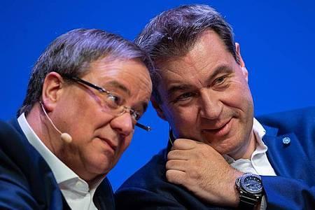 Einer von beiden wird der Kanzlerkandidat der Union:Armin Laschet oder Markus Söder. Foto: Guido Kirchner/dpa