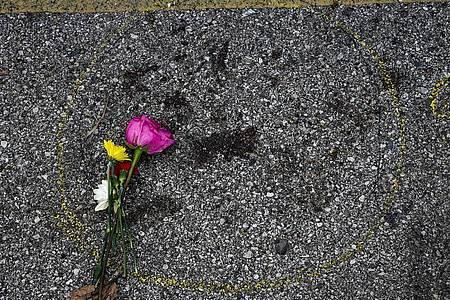 Eine Blume liegt am Tatort in der US-Stadt Kenosha, wo ein Demonstrant erschossen worden ist. Foto: Morry Gash/AP/dpa