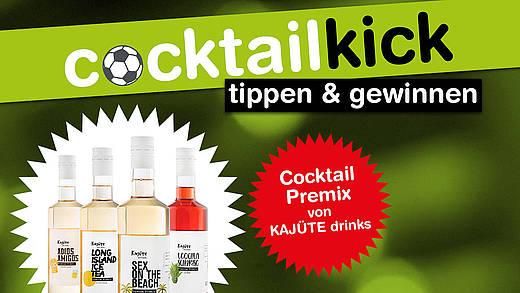 deinfm cocktail-kick aktionsmotiv mit headline und Abbildung der Cocktailflaschen auf grünem Hintergrund