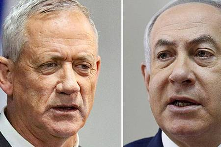 Die Bildkombo zeigt Benny Gantz, Vorsitzender des Bündnisses Blau-Weiß, und Benjamin Netanjahu, Premierminister von Israel. Foto: ---/dpa
