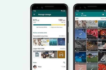 In der neuen Speicherverwaltung schlägt Whatsapp selbst Inhalte vor, die gelöscht werden könnten. Foto: Whatsapp/dpa-tmn