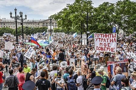 Proteste in Chabarowsk. Foto: Igor Volkov/AP/dpa