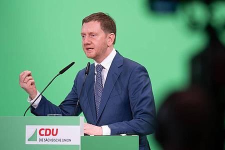 Reist zu einem mehrtägigen Besuch nach Moskau: Michael Kretschmer (CDU), Ministerpräsident von Sachsen. Foto: Sebastian Kahnert/dpa-Zentralbild/dpa