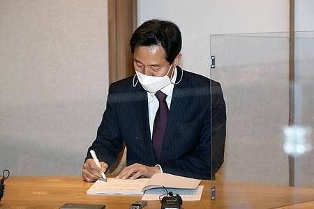 Oh Se Hoon, Kandidat für die Bügermeisterwahl in Seoul, gewinnt die Nachwahlen für die oppositionelle «People Power Party». Foto: -/YNA/dpa