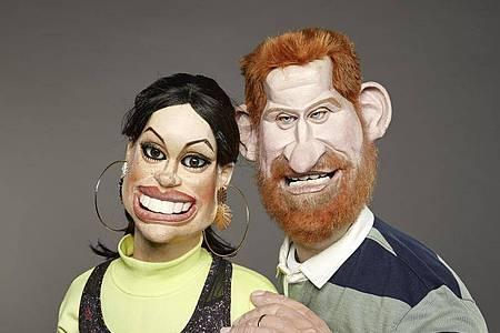 Die «Spitting Image»-Karikaturen von Prinz Harry und Herzogin Meghan. Foto: Mark Harrison/ITV/dpa