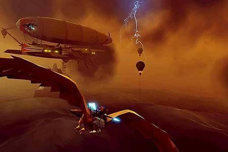Hoher Schauwert:«The Falconeer» hat einen ungewöhnlichen, aber sehr hübschen Grafikstil. Foto: Wired Productions/dpa-tmn