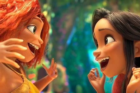 Zwei, die sich auf Anhieb verstehen:Eep Crood (l) und Dawn Bessermann. Foto: DreamWorks Animation/UPI Media/dpa