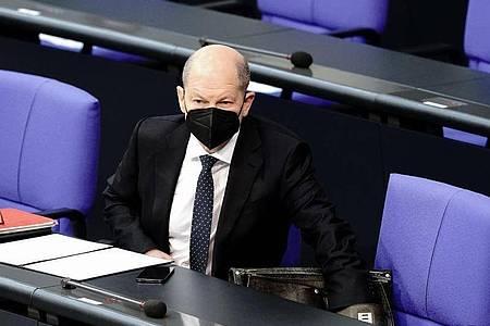 Olaf Scholz, Bundesminister der Finanzen, während einer Sitzung des Bundestags. Foto: Kay Nietfeld/dpa