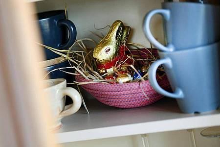 Ein Osternest mit Schokohase und Schokoladeneiern ist in einer Wohnung zwischen Geschirr im Schrank versteckt. Foto: Angelika Warmuth/dpa