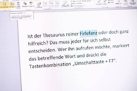 Wenn man nicht weiß, dass er da ist, wird man den Word-Thesaurus kaum entdecken. Foto: Zacharie Scheurer/dpa-tmn