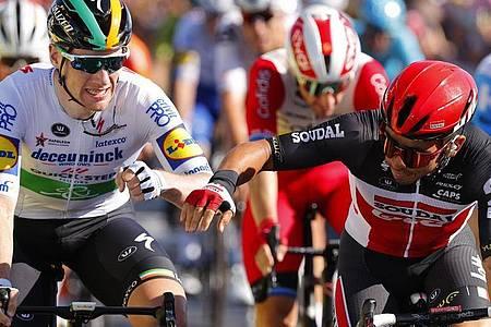 Sam Bennett (l) und Caleb Ewan (r) sind die Favoriten für den Tagessieg der 11. Etappe. Foto: -/Belga Pool/dpa