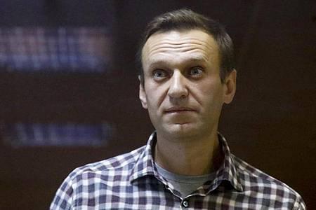 Der russische Oppositionsführer Alexej Nawalny steht in einem Käfig im Bezirksgericht Babuskinskij in Moskau, Russland. Foto: Alexander Zemlianichenko/AP/dpa