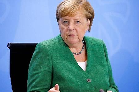 Rede und Antwort steht Kanzlerin Angela Merkel (CDU) heute bei ihrer traditionellen Sommerpressekonferenz. Foto: Michele Tantussi/Reuters/Pool/dpa