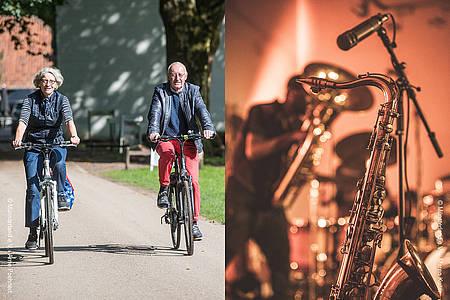 Zwei Radfahrer auf einem Landweg und Mikrofonständer auf einer Bühne