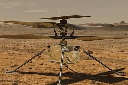 Der Mini-Hubschrauber «Ingenuity» auf der Marsoberfläche Mars. Foto: Jpl-Caltech/ZUMA Wire/dpa