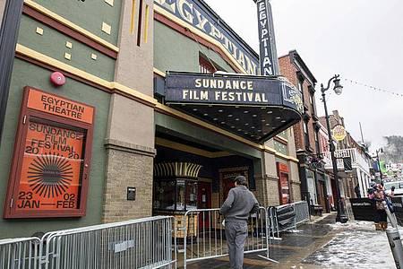 Das «Egyptian Theatre» am Festivalort Park City in Utah. Foto: Charles Sykes/Invision/AP/dpa